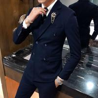 British Style Men's Double breasted Suits Slim Fit Dress Suits for Men 3 Pieces Sets 2019 High Quality Black Groom Wedding Suit