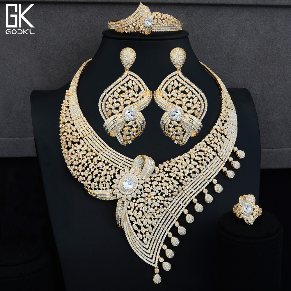 GODKI Luxury Half of Bowknot 4PCS African Jewelry Sets For Women Wedding Cubic Zircon Crystal CZ Indian Dubai Bridal Jewelry Set