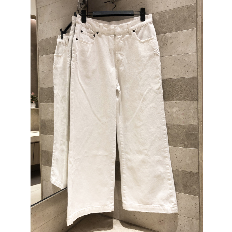 Simple casual straight pants bee embroidery women s quality 2019 wide leg pants white jeansstraight jeans