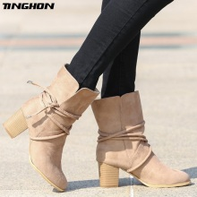 TINGHON Lace-up Sexy Winter Ankle Boots Women High Heels Short Plush Pointed Toe Fashion Motorcycle
