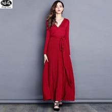 Women Sexy V-Neck Long-sleeve knitting Dress 2017 Autumn Ankle-length Elegant Bow Waist Fold Pleated Office Dress Party Vestido