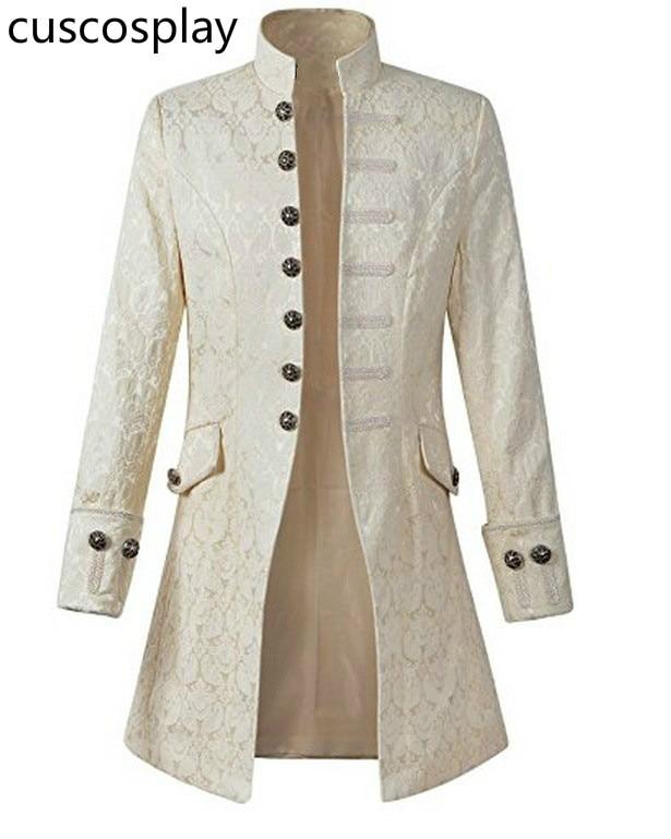 Victoria Edwardian Steampunk Trench Adult Men Coat Frock Velvet Outwear Solid Vintage Prince Overcoat Costume Play Dress