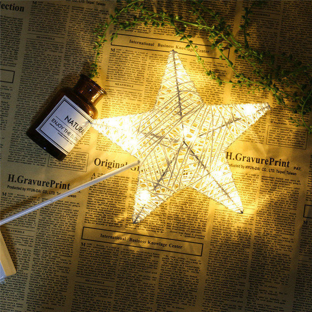 LAIDEYI 40CM Star Heart Shape Grass Rattan Woven LED Night Light Battery Power Girls Bedroom Decorative Table Lamp Kids Gift Toy