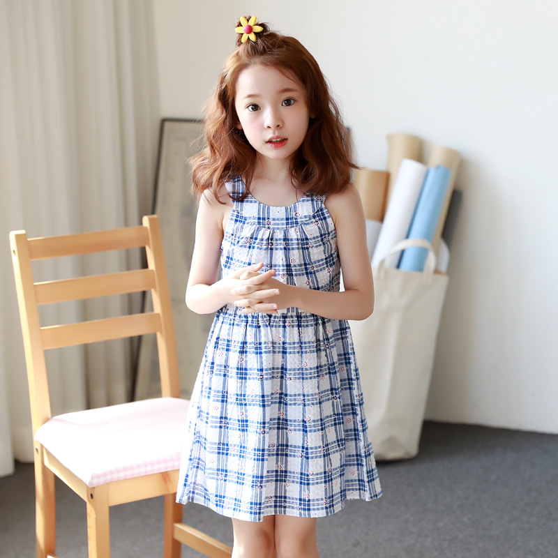 children dresses girls new 2018 blue plaid teenage girls clothing big little teenage girls dresses sleeveless sundress summer
