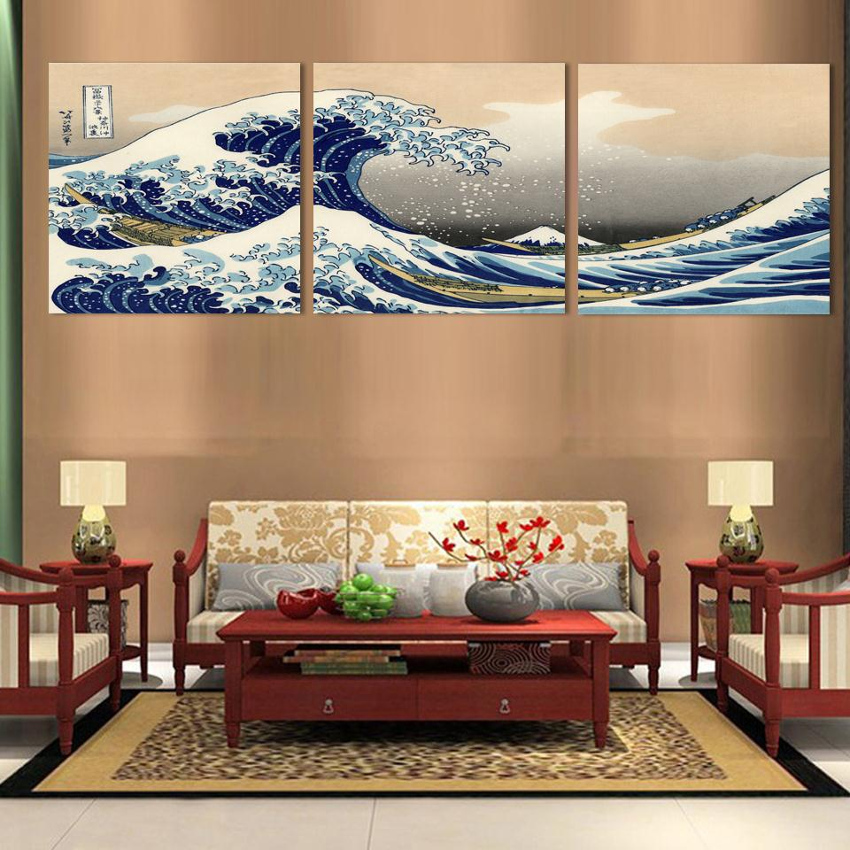 3 piece wall art japanese art painting canvas posters and print japan canvas pictures traditional kanagawa katsushika hokusai in painting calligraphy from