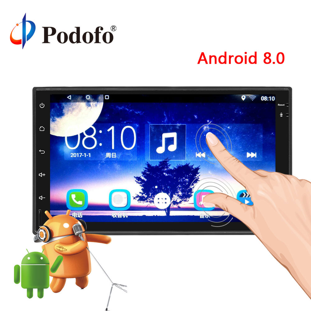 Podofo Universal 2Din Android 8.0 Touch Screen Car DVD Player GPS Navigation WiFi Bluetooth Radio Player Multimedia Radio Stereo