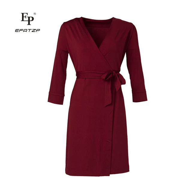 d79b3e5b81fa EFATZP 2018 Summer Women V-Neck Long Sleeve Pleated Short Wrap Dress Ladies  Office Dresses