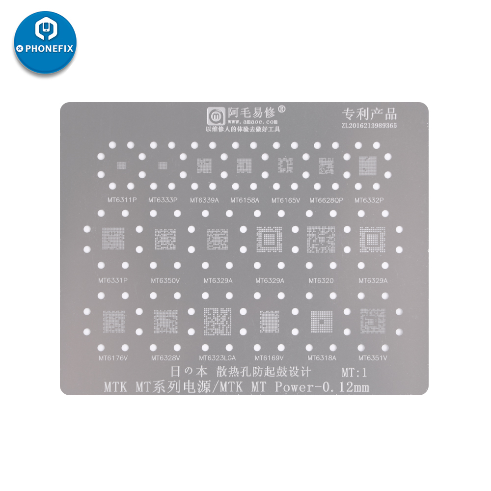 PHONEFIX 19 In 1 MTK MT Series Power IC BGA Rework Reballing Stencil Template Kit For Phone Professional Soldering Rework Repair
