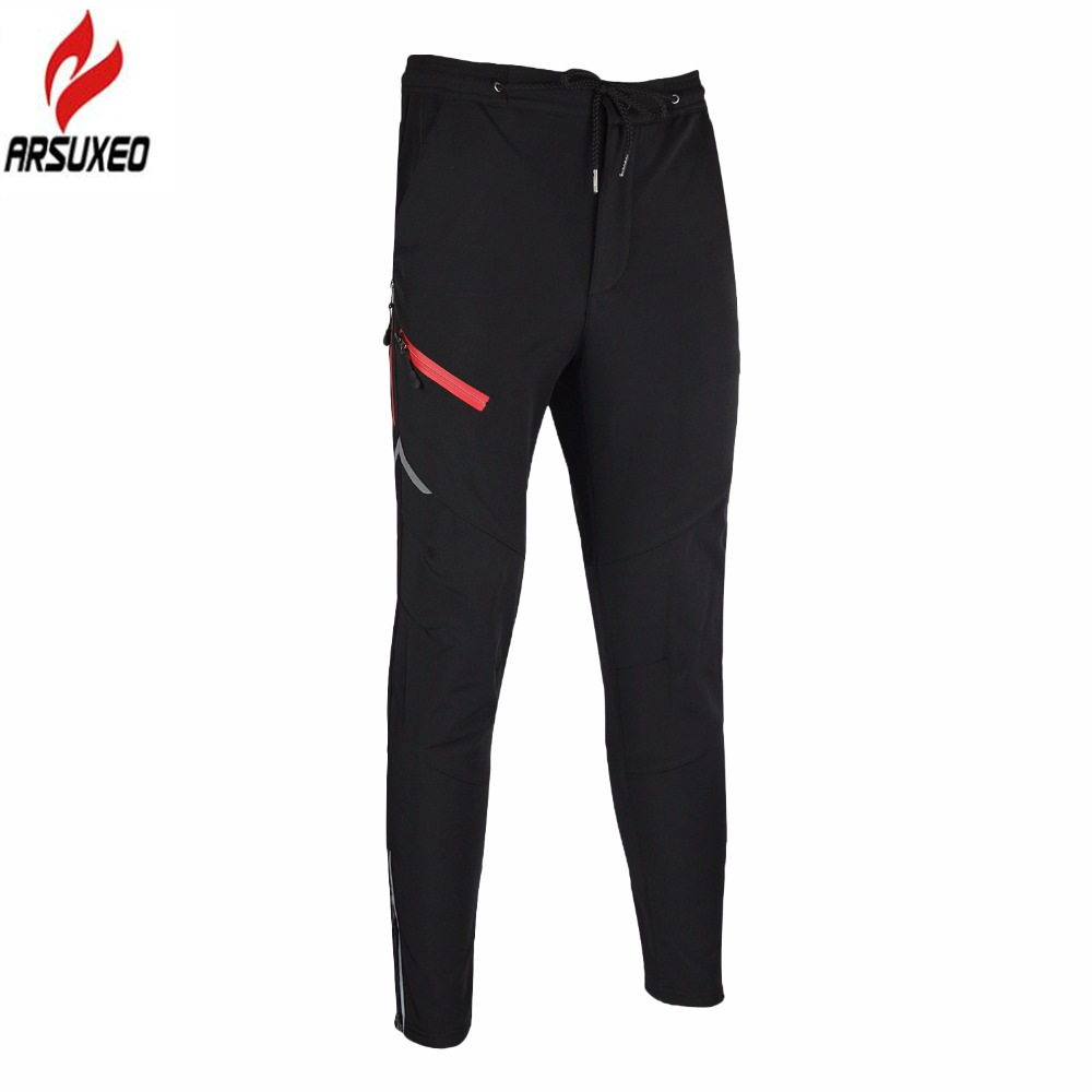 ARSUXEO 2017 New Men's Cycling Pants Winter Warm Up Thermal Fleece Outdoor Sports Windproof Waterproof MTB Bike Bicycle Pants