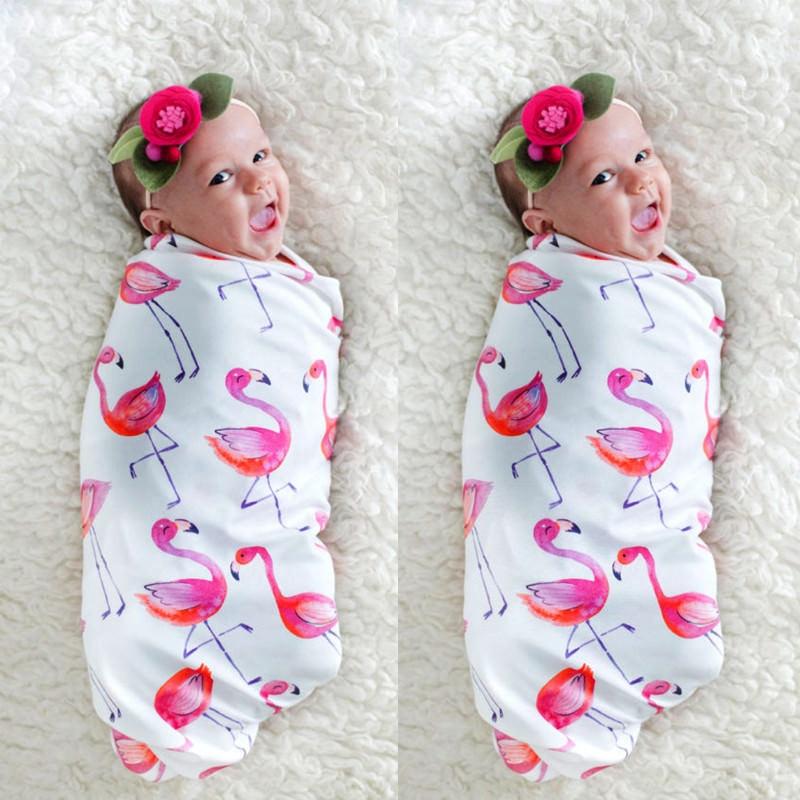 Newborn Infant Muslin Baby Sleeping Bag Cotton Breathable Flamingo Print Sleepsack Baby Soft Warm Swaddle For Newborns