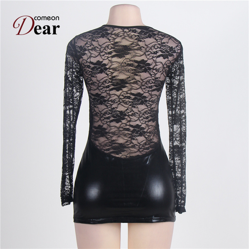 Comeondear 2018 Newly Hot Black Lace Plus Size Faux Leather Sex Lingerie Dress Sexy Costumes Erotic Lingerie Babydolls RJ7393