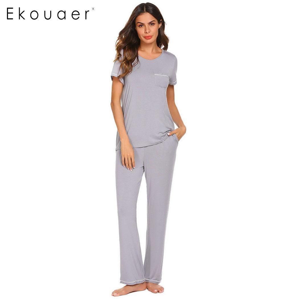 Ekouaer Women   Pajamas     Set   Nighty Sleepwear Short Sleeve Tops Long Pants Suits Nightwear   Pajama     Sets   Female Soft Homewear Clothes