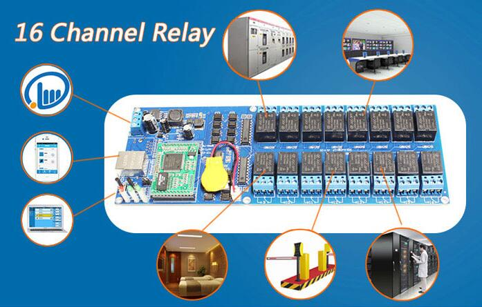 Industrial 16 Channel light controlling Relay board,Gate and door Network IP Remote Control Switch Module Controller,TCP/IP vectra industrial control board rocky 3705ev