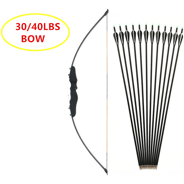 Darts- Black  Straight Bow Recurve Bow 30-40lbs Wooden Archery Bow Outdoor Shooting Hunting Bow Sports Arrow Longbow