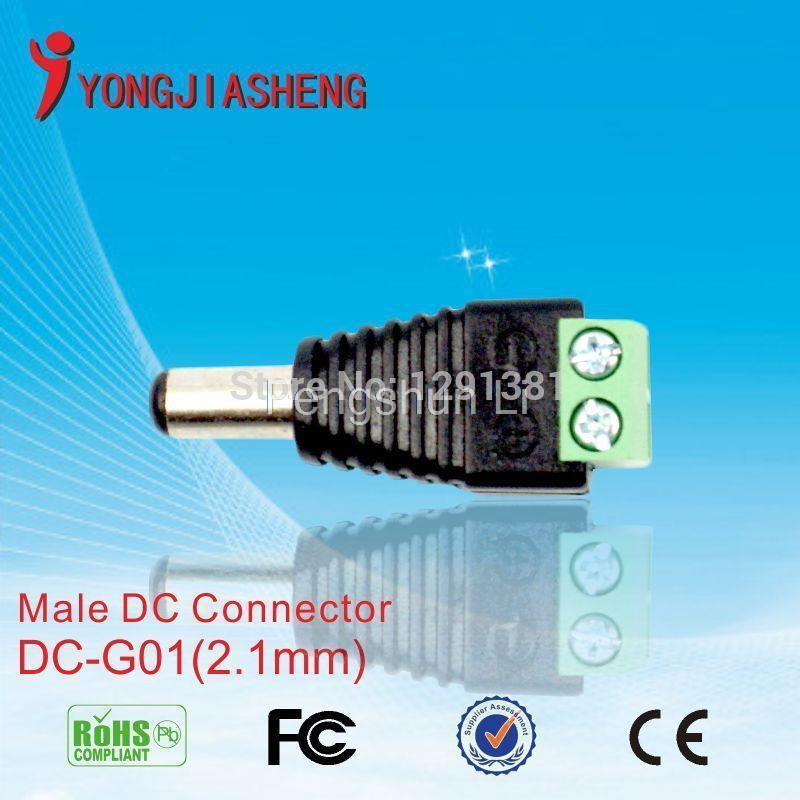 50PCS   DC Power Male Jack Plug Adapter Connector for cctv camera BNC balun free shiping  цены