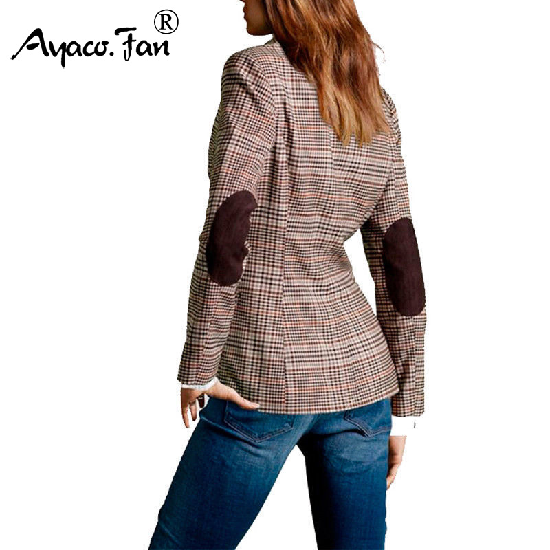 British Style Slim Classic Small Plaid Blazers Casual Patch Elbow Patchwork Women Suit Coat Formal Lady Single Breasted Outwear