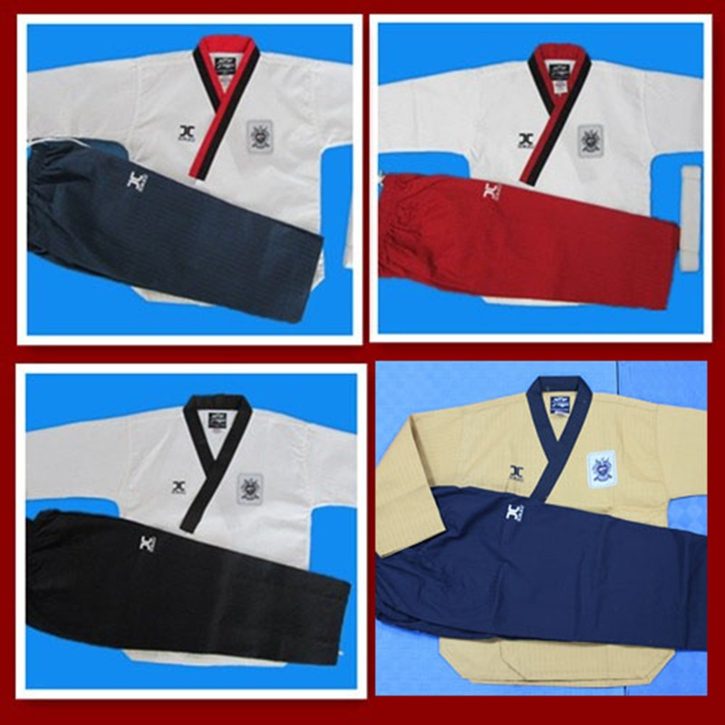 Lucamino promotional JCALICU taekwondo training uniforms J-calicu poomsae practice clothes Male/Female tae kwon do uniforms j calicu taekwondo dobok adults children male taekwondo poomsae clothes cool cotton striped genuine for have dan persons karate