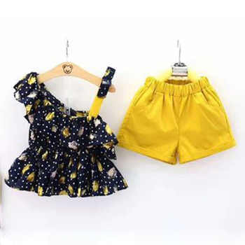 2018 girls summer clothing sets baby girls fashion clothes 2 pieces set halter tops+shorts casual clothes 2 3 4 5 6 7 8 years
