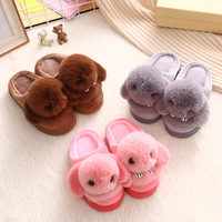 2017 Children Home Slippers Girls Cute Cartoon Rabbit Cotton Shoes Boys Winter Warm Non Slip Slippers