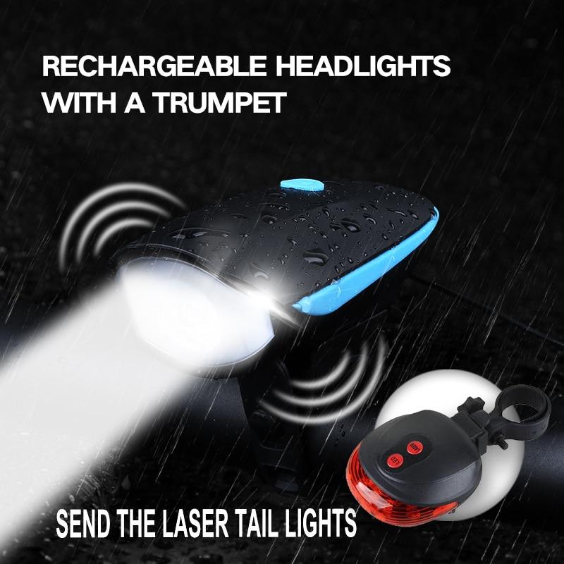 DEROACE bike light bike accessories  bicycle light BikeD Light Bicicleta USB charging headlights  with Thehorn