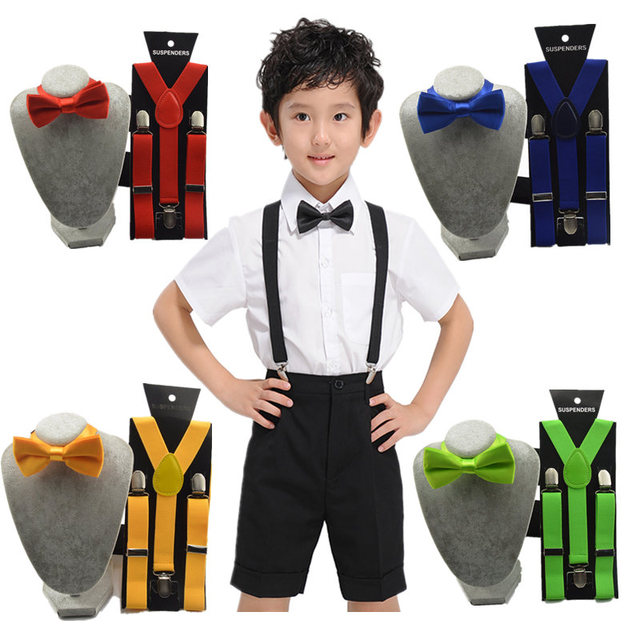 852c5a535 Adjustable suspender and bow tie set for boys and girs black wedding party  Braces Elastic suspenders Y-back for Baby Kids