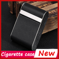 Holds 14 Cigarettes, Leather Business Black Cigarette Case Box ,Pocket Scale Smoking Metal Automatic Cigarette Box kaloud chicha