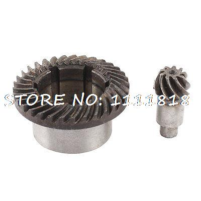 30mm Inner Dia Metal Spiral Teeth Bevel Gear Drill Set home kitchen blender 6 teeth coupling clutch gear 33mm dia 2pcs black