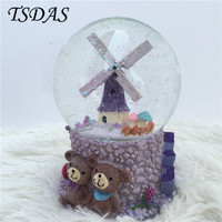 Large Rotating Snow Globe Crystal Ball Music Box Valentine S Day Gifts Windmill Music Boxes For