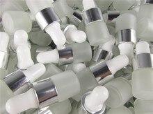 100 pçs/lote 1ml 2ml 3ml 5ml claro fosco vidro conta gotas frasco frascos com pipeta para garrafas de óleo essencial perfume cosmético