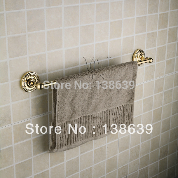 Free Shipping (60cm)Single Towel Bar,gold Towel Holder,Solid Brass Made,Chrome Finished, Bathroom Products,Bathroom Accessories free shipping 60cm double towel bar brief towel holder solid brass made gold finished bath products bathroom accessories