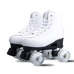 Künstliche Leder Rollschuhe Doppel Linie Skates Frauen Männer Erwachsene Zwei Linie Skating Schuhe Patines Mit Weiß PU 4 Räder