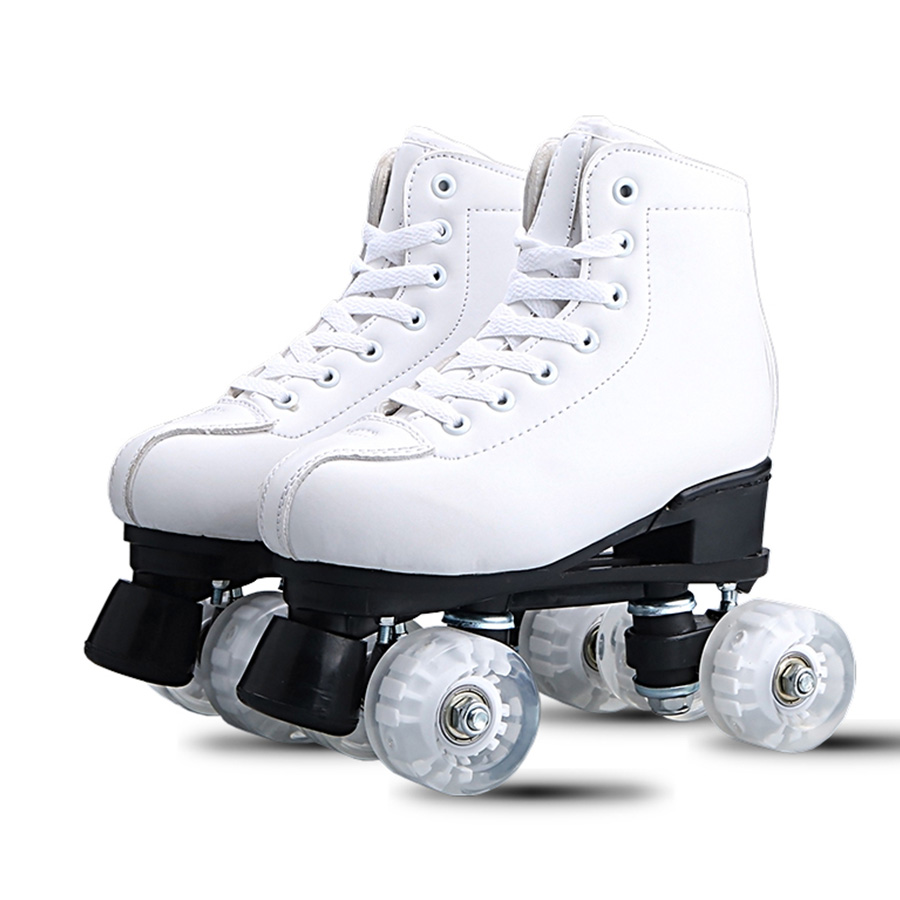 Patins Dupla Linha de Couro Artificial Mulheres Homens Adulto Dois Linha De Patinação Sapatos Patins Patines Com Branco PU 4 Rodas
