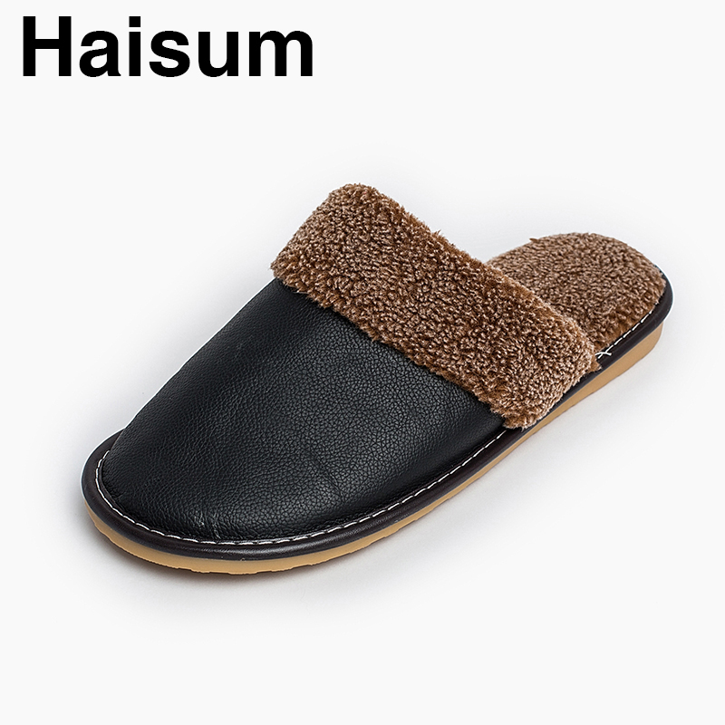 Men 's Slippers Winter genuine Leather Home Indoor Non - Slip Thermal Slippers 2018 New Hot Haisum H-8812 201818 men s slippers tott