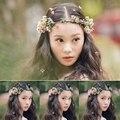 Mujeres novia corona de flores nupcial adornos tocado guirnaldas florales flor banda para el cabello de la novia de pelo accesorios de joyería de la fotografía