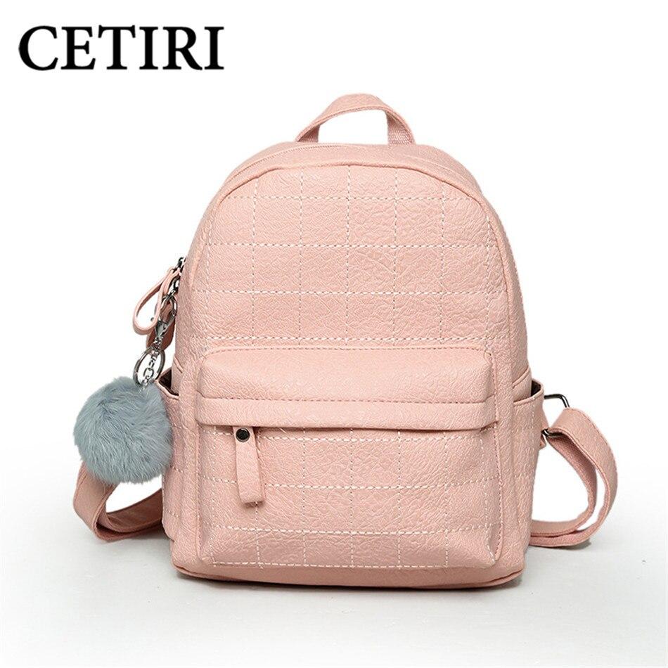 CETIRI Backpack plaid Women Backpack Plaid Female Scool Backpacks For Teenage Girls Ball PU Leather Bagpack Women Backpacks Pink