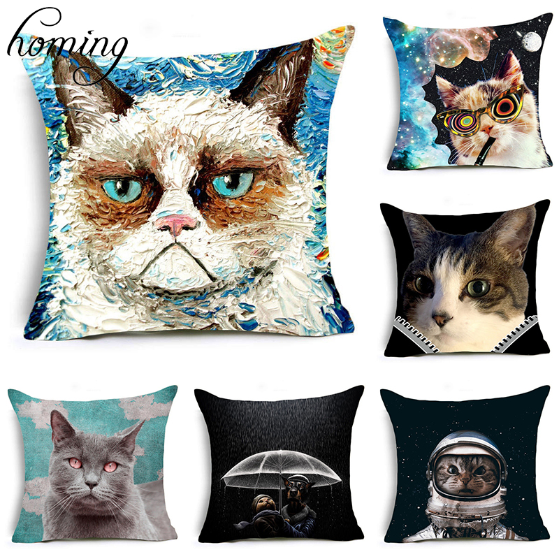 Homing New Arrive Comfortable Travel Pillow Case Cute Funny Watercolor Cartoon Cats Painting Cushion Cover Living Room Decor