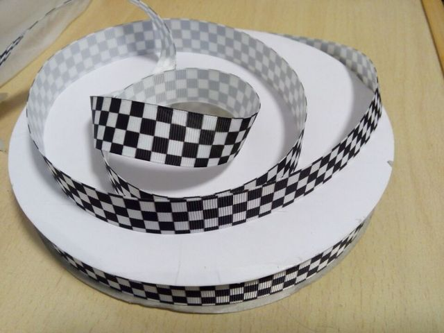 Small Black And White Checkered Party Decoration Printed Grosgrain