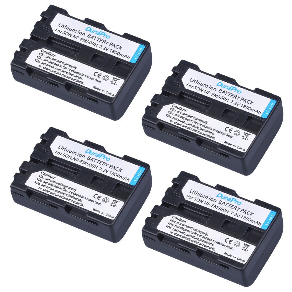 4 Pack - DuraPro NP-FM500H NP FM500H Rechargeable Camera Battery For Sony A57 A65 A77 A99 A350 A550 A580 A900