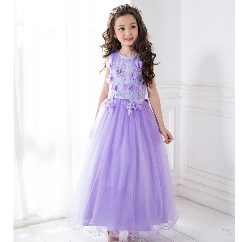 Long New 2017 Noble Purple Sleeveless Princess Lace Flowers Ball Gown Satin Bowknot Decor Wedding/Party Formal Dress