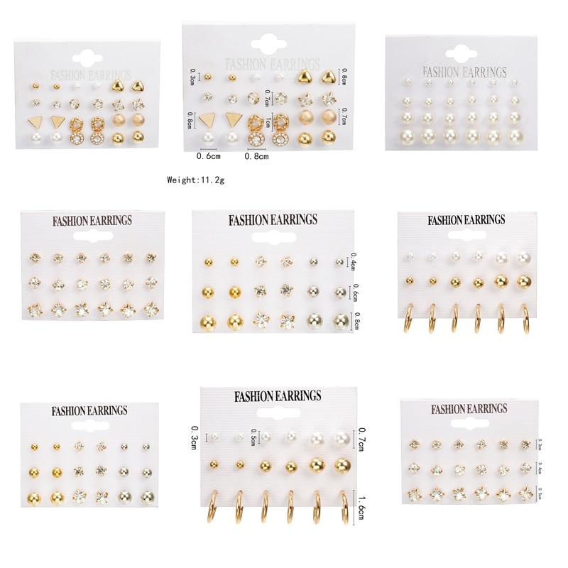 24 Pcs/set Heart Flowers Vintage Gold  Stud Earrings Set 2019 New Rhinestone Imitation Pearl Earrings For Women Gift