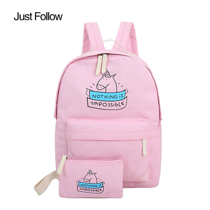 Just Follow Brand 7 COLORS canvas backpack 2017 New for teenage girls cartoon bags cute unicorn