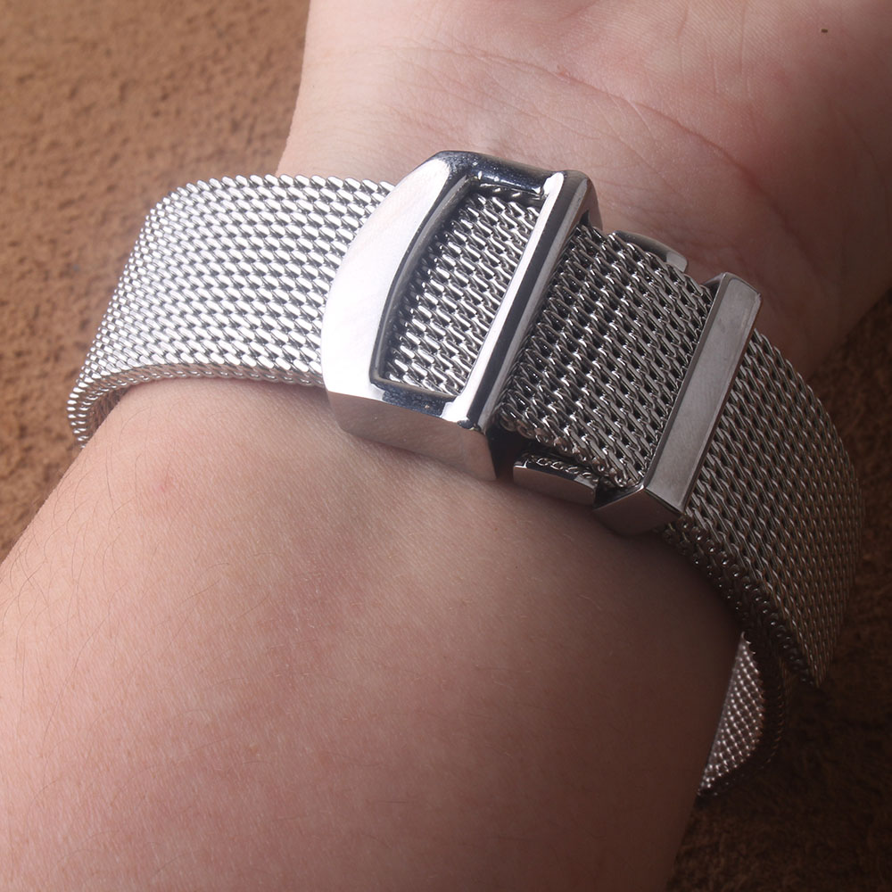 High Quality Watchband Shark Mesh Silver Stainless Steel Wrist Watch Strap Bracelet With Brand Style Deployment Clasp 20mm 22mm