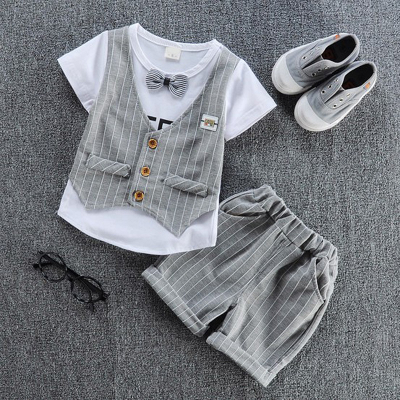 2017 New Spring Summer clothing sets  children bowtie T shirt with fake vest kids T-shirt+ pants 2pcs/set boy girls wear