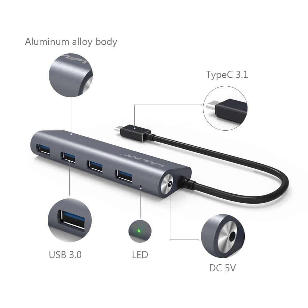 Wavlink Aluminum USB 3.1 Tipo C a 4 puertos USB 3.0 Alta velocidad - Periféricos de la computadora - foto 4