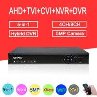 5MP CCTV Camera Blue Ray Hi3531A XMeye 4CH/8CH Hybrid Coaxial WIFI 6 in 1 XVI TVI CVI NVR AHD DVR Free Shipping