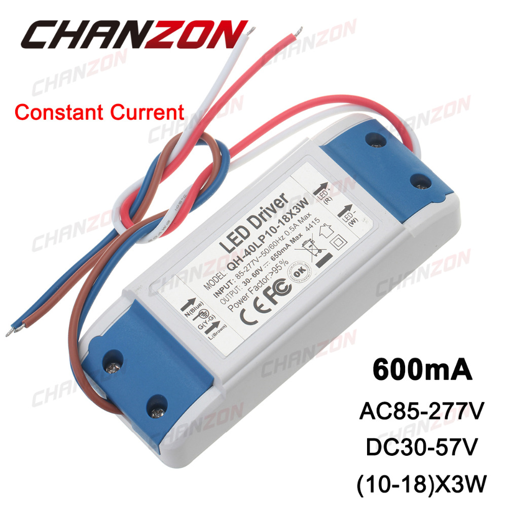 Constant Current LED Driver 10-18x3W 600mA 30-57V 30W 36W 45s