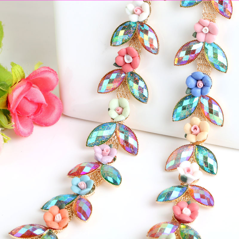 1yard Ceramic Flower Crystal Rhinestone Chain For DIY Wedding Dress Decoration And Sew On Garment Bags