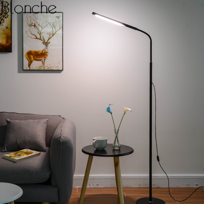 Modern Led Floor Lamp Dimmable Stand Lights for Living Room Bedroom Bedside Piano Lamp Study Standing Light Fixtures Home Decor modern wood table floor lamp living room bedroom study standing lamps fabric decor home lights wooden floor standing lights