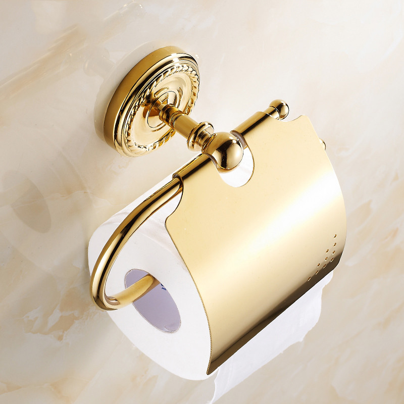 Antique Wall Mounted Covered Gold Roll Holder Brushed Tissue Box Round Base Brass Toilet Paper Holder Bathroom Accessories free shipping antique toilet paper holder wall mounted waterproof roll paper tissue box brass bathroom accessories