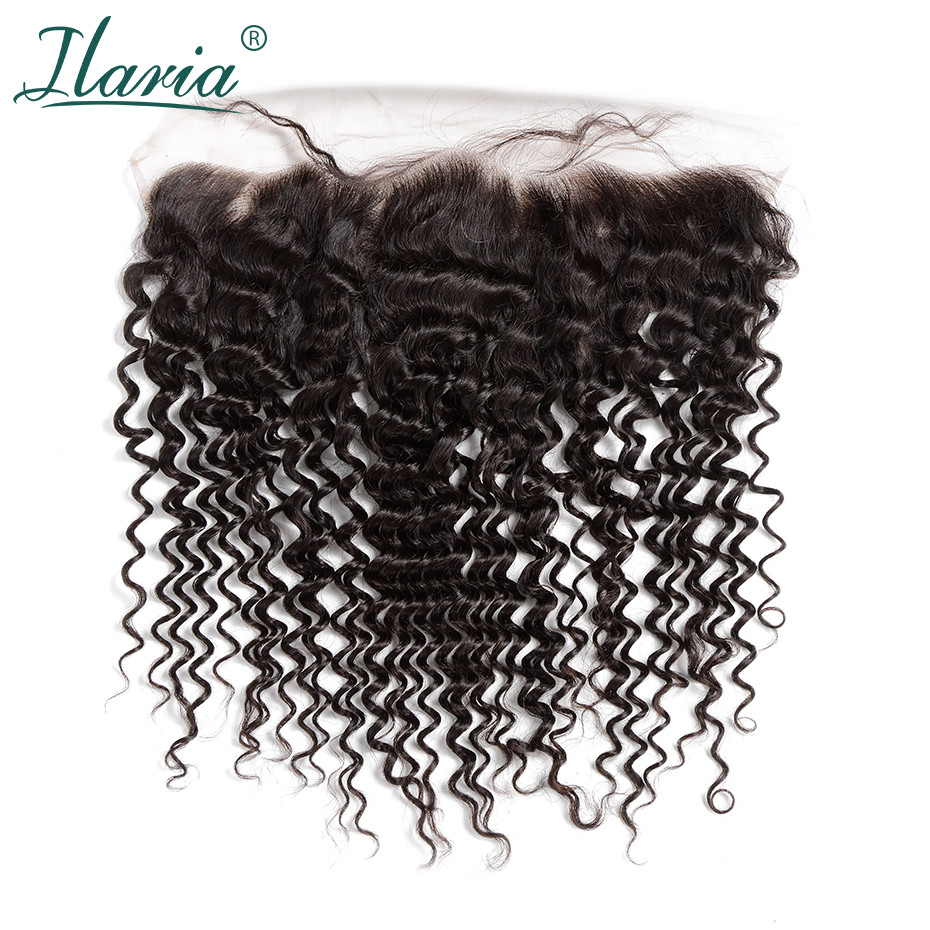 ILARIA HAIR Malaysian Curly Human Hair Lace Frontal Closure With Baby Hair Deep Wave 13x4 Ear To Ear Pre-Plucked Bleached Knots